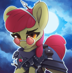 Size: 1972x1999 | Tagged: safe, artist:hitbass, apple bloom, earth pony, clothes, cloud, digital art, full moon, glasses, hunter, moon, vampire hunter