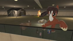 Size: 1280x720 | Tagged: safe, artist:horsesplease, trouble shoes, bronycon, alcohol, alone, baltimore convention center, bottle, budweiser, car, card, fire, sad, tent