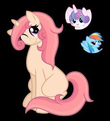Size: 1280x1403   Tagged: safe, artist:tenderrain46, princess flurry heart, rainbow dash, oc, pony, unicorn, female, magical lesbian spawn, mare, offspring, parent:princess flurry heart, parent:rainbow dash, simple background, transparent background