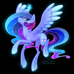 Size: 1008x1008 | Tagged: safe, artist:sweettots, princess cadance, princess celestia, princess luna, twilight sparkle, alicorn, pony, alicorn triarchy, cutie mark, ethereal mane, fusion, solo, spread wings, twilight sparkle (alicorn), wings