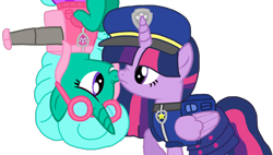 Size: 1900x1080 | Tagged: safe, artist:徐詩珮, glitter drops, twilight sparkle, alicorn, series:sprglitemplight diary, series:sprglitemplight life jacket days, series:springshadowdrops diary, series:springshadowdrops life jacket days, alternate universe, base used, chase (paw patrol), clothes, female, glitterlight, lesbian, paw patrol, shipping, simple background, skye (paw patrol), transparent background, twilight sparkle (alicorn)
