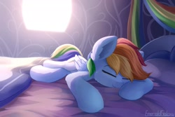 Size: 1920x1280 | Tagged: safe, artist:emeraldgalaxy, rainbow dash, pegasus, pony, bed, bedroom, cute, dashabetes, eyes closed, female, mare, pillow, sleeping, smiling, solo