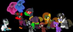 Size: 3536x1578 | Tagged: safe, artist:shadymeadow, oc, oc:dancing fan, oc:fried egg, pony, unicorn, colt, male, pj masks, ponified, simple background, stallion, transparent background
