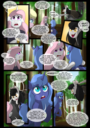 Size: 1240x1754 | Tagged: safe, artist:lunarcakez, princess celestia, princess luna, oc, oc:mazzy, oc:mute, earth pony, pony, comic:the origins of hollow shades, comic, female, mare, pink-mane celestia, s1 luna