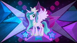 Size: 3840x2160 | Tagged: safe, artist:laszlvfx, edit, oc, oc:star blossom, alicorn, pony, crown, female, jewelry, mare, regalia, solo, wallpaper, wallpaper edit