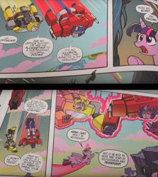 Size: 1680x1880   Tagged: safe, artist:tonyfleecs, idw, queen chrysalis, twilight sparkle, spoiler:comic, spoiler:friendship in disguise, bumblebee, comic, crossover, magic, open mouth, optimus prime, transformers