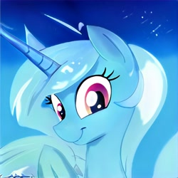 Size: 1024x1024 | Tagged: safe, artist:thisponydoesnotexist, pony, unicorn, bust, horn, long horn, neural network, not trixie, smiling
