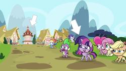 Size: 9000x5063 | Tagged: safe, artist:faze-alan-mskull2019, applejack, fluttershy, pinkie pie, rainbow dash, rarity, spike, twilight sparkle, alicorn, dragon, earth pony, pegasus, pony, unicorn, my little pony: pony life, arrow, female, g4.5 to g4, generation leap, male, ponyville, twilight sparkle (alicorn)
