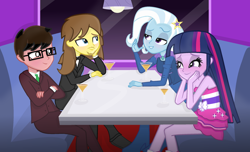 Size: 2488x1508 | Tagged: safe, artist:grapefruitface1, trixie, twilight sparkle, oc, oc:clover spell, oc:grapefruit face, human, equestria girls, bare shoulders, blushing, canon x oc, clothes, double date, fall formal outfits, female, grapefruitface x trixie, in love, male, shipping, sleeveless, straight, strapless, suit, tuxedo