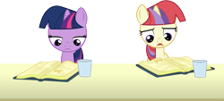 Size: 6614x3000 | Tagged: safe, artist:cloudyglow, moondancer, twilight sparkle, amending fences, book, female, filly, filly moondancer, filly twilight sparkle, reading, simple background, transparent background, vector, younger