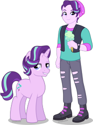 Size: 3346x4500 | Tagged: safe, artist:limedazzle, starlight glimmer, pony, unicorn, equestria girls, spoiler:eqg specials, equestria guys, food, human ponidox, ice cream, male, rule 63, self ponidox, simple background, stallion, stellar gleam, transparent background, vector