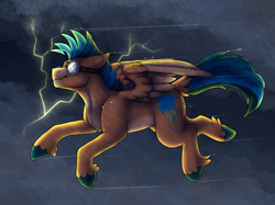 Size: 1366x1024 | Tagged: safe, artist:sursiq, storm chaser, oc, oc:stingray, pegasus, pony, blue mane, blue tail, flying, goggles, lightning, orange body, rain, smiling, solo, spread wings, storm, storming, wings