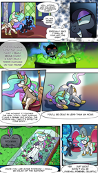Size: 2036x3574 | Tagged: safe, artist:candyclumsy, nightmare moon, princess celestia, pony, comic:attempted sorroricide, cauldron, clothes, death, dress, female, filly, needle, nightmare woon