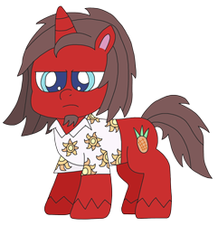 Size: 2448x2544 | Tagged: safe, artist:supahdonarudo, oc, oc only, oc:ironyoshi, unicorn, my little pony: pony life, clothes, facial hair, goatee, shirt, simple background, style emulation, transparent background, unamused