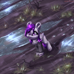 Size: 2400x2400 | Tagged: safe, artist:shido-tara, oc, oc:morning glory (project horizons), fallout equestria, fallout equestria: project horizons, clothes, fanfic art, grass, looking up, mud, puddle, rain, wet, wet mane