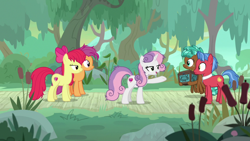 Size: 1920x1080   Tagged: safe, screencap, apple bloom, biscuit, scootaloo, spur, sweetie belle, growing up is hard to do, cutie mark crusaders, older