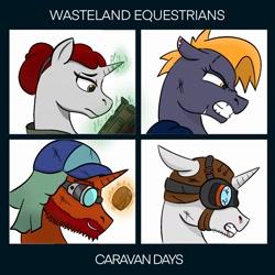 Size: 1426x1426 | Tagged: safe, artist:ezralight, oc, oc only, earth pony, pony, unicorn, fallout equestria, angry, brawler, crossover, goggles, gorillaz, gun, handgun, hat, injured, junk tinkerer, paramedic, pistol, sad, scar, scavenger, smiling, wasteland equestrians, weapon