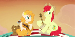 Size: 2160x1080 | Tagged: safe, artist:three uncle, edit, edited screencap, screencap, bright mac, pear butter, earth pony, pony, the perfect pear, banjo, blushing, brightbutter, cowboy hat, female, guitar, hat, husband and wife, male, mare, musical instrument, picnic, playing instrument, shipping, simple background, stallion, straight, transparent background