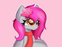 Size: 4740x3644 | Tagged: safe, artist:janelearts, oc, pegasus, pony, female, flower, flower in hair, mare, pink background, simple background, solo