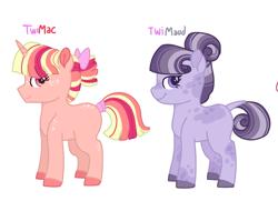 Size: 1578x1141 | Tagged: safe, artist:kittystar614, oc, unnamed oc, earth pony, pony, unicorn, bow, earth pony oc, female, filly, freckles, hair bun, horn, magical lesbian spawn, offspring, parent:big macintosh, parent:maud pie, parent:twilight sparkle, parents:twimac, parents:twimaud, simple background, unicorn oc, white background