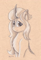 Size: 3212x4631 | Tagged: safe, artist:peruserofpieces, oc, oc:lumi, kirin, bust, female, horn, kirin oc, looking at you, pencil drawing, scales, smiling, solo, toned paper, traditional art