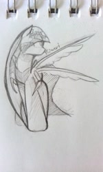 Size: 539x901 | Tagged: safe, artist:kiwwsplash, oc, oc only, pegasus, pony, pegasus oc, solo, traditional art, wings