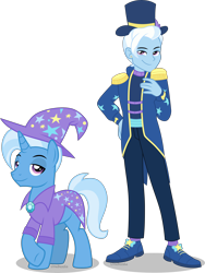 Size: 3730x4960 | Tagged: safe, alternate version, artist:limedazzle, trixie, pony, unicorn, equestria girls, equestria girls series, spoiler:eqg series (season 2), absurd resolution, clothes, equestria guys, hat, human ponidox, lidded eyes, magician outfit, male, pants, raised hoof, rule 63, self paradox, self ponidox, shoes, simple background, smiling, solo, stallion, transparent background, underhoof, wizard hat