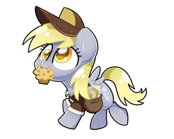 Size: 2560x2048 | Tagged: safe, artist:sugar morning, derpy hooves, pegasus, pony, cap, clothes, cute, derpabetes, food, hat, mail, mailbag, mailmare, mailpony, muffin, simple background, solo, transparent background