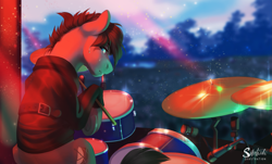 Size: 1725x1044 | Tagged: safe, artist:silentwulv, oc, oc only, earth pony, pony, audience, clothes, concert, crowd, drum kit, drummer, drums, drumsticks, male, musical instrument