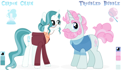 Size: 1024x592 | Tagged: safe, artist:kabuvee, oc, oc only, oc:carbon chain, oc:troubled bubble, pony, unicorn, clothes, female, glasses, male, mare, simple background, stallion, transparent background