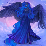 Size: 1200x1200 | Tagged: safe, artist:margony, princess luna, alicorn, anthro, unguligrade anthro, beautisexy, big breasts, breasts, busty princess luna, cleavage, clothes, commission, dress, female, jewelry, large wings, necklace, solo, wings