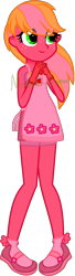 Size: 442x1624 | Tagged: safe, artist:mobian-gamer, artist:piepinkie1, oc, oc only, oc:blossoming apple, equestria girls, apron, base used, clothes, cute, dress, eye clipping through hair, female, freckles, gloves, hands together, mary janes, next generation, offspring, parent:big macintosh, parent:fluttershy, parents:fluttermac, shoes, simple background, socks, solo, transparent background, watermark