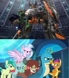 Size: 1280x1432 | Tagged: safe, screencap, gallus, ocellus, sandbar, silverstream, smolder, yona, school raze, clash of hasbro's titans, crossover, jolt, minicons, reverb, sideways(cybertron), six-speed, student six, transformers, transformers cybertron, transformers galaxy force