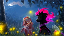 Size: 2500x1405 | Tagged: safe, artist:rrd-artist, oc, bat pony, earth pony, firefly (insect), insect, pony, bat pony oc, bat wings, black sclera, clothes, earth pony oc, eye scar, forest, looking up, moon, multicolored hair, night, red sclera, scar, tree, white eyes, wings
