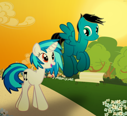 Size: 7200x6600 | Tagged: safe, artist:agkandphotomaker2000, dj pon-3, vinyl scratch, oc, oc:pony video maker, pegasus, pony, unicorn, afternoon, bench, bush, canon x oc, cloud, female, flower, flying, male, park, path, ponyville, red eyes, shipping, show accurate, straight, sunset, tree, videoscratch, walking