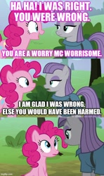 Size: 500x843 | Tagged: safe, edit, edited screencap, screencap, maud pie, pinkie pie, earth pony, pony, the maud couple, caption, comic, duo, image macro, screencap comic, text