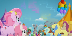 Size: 2160x1080 | Tagged: safe, screencap, guiding heart, spring sprout, stargazer (character), tulip bulb, tulip rose, pony, rainbow roadtrip, background pony, female, male, mare, photo, stallion, unnamed character, unnamed pony