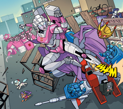 Size: 1988x1746   Tagged: safe, artist:jack lawrence, artist:luis antonio delgado, idw, coco pommel, plaid stripes, rarity, spoiler:comic, spoiler:friendship in disguise, arcee, car, comic, crossover, jet, kick, kicking, manehattan, my little pony/transformers: friendship in disguise, rarity for you, starscream, transformation sequence, transformers