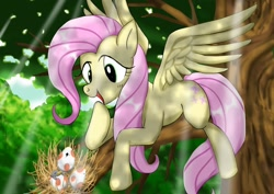Size: 1024x724 | Tagged: safe, artist:neoshrek, fluttershy, bird, pegasus, pony, cute, egg, female, happy, hatchling, mare, nest, spread wings, tree, wings