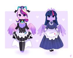 Size: 800x640 | Tagged: safe, artist:ipun, princess cadance, twilight sparkle, alicorn, semi-anthro, clothes, friendship cafe, gothic lolita, maid, twilight sparkle (alicorn)