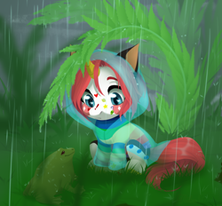 Size: 1164x1080 | Tagged: safe, artist:nika-rain, oc, oc only, frog, pony, unicorn, chibi, cute, male, rain, solo