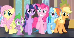 Size: 1364x698 | Tagged: safe, screencap, applejack, fluttershy, pinkie pie, rainbow dash, spike, twilight sparkle, alicorn, rarity takes manehattan, cropped, group, offscreen character, raised hoof, smiling, twilight sparkle (alicorn)
