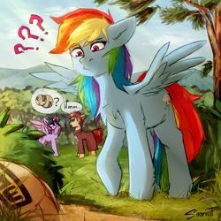 Size: 2894x2894 | Tagged: safe, artist:flysouldragon, derpibooru exclusive, rainbow dash, twilight sparkle, alicorn, pegasus, pony, anime, clothes, crossover, female, gaara, horn, male, mare, naruto, ponified, sabaku no gaara, sand, spread wings, stallion, sun, tree, twilight sparkle (alicorn), wings