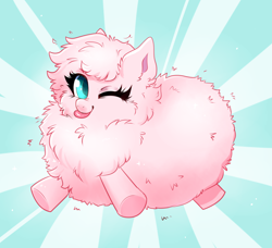 Size: 2760x2519 | Tagged: safe, artist:ravensunart, oc, oc:fluffle puff, pony, :p, chest fluff, cute, female, fluffy, mare, ocbetes, one eye closed, simple background, solo, tongue out, wink