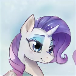 Size: 1024x1024 | Tagged: safe, artist:thisponydoesnotexist, oc, oc only, pony, unicorn, artificial intelligence, eyeshadow, female, makeup, mare, neural network, not rarity, solo