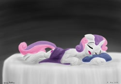 Size: 1024x709 | Tagged: safe, artist:rockhoppr3, sweetie belle, pony, unicorn, bed, blanket, cute, diasweetes, drool, eyes closed, pillow, sleeping, solo, unshorn fetlocks