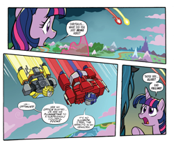 Size: 1988x1656   Tagged: safe, artist:tonyfleecs, idw, queen chrysalis, twilight sparkle, alicorn, spoiler:comic, spoiler:friendship in disguise, bumblebee, comic, crossover, equestria, magic, open mouth, optimus prime, transformers, twilight sparkle (alicorn)