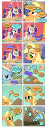 Size: 868x2336 | Tagged: safe, artist:dziadek1990, edit, edited screencap, screencap, applejack, rainbow dash, rarity, comic:revenge is best served [adjective], a dog and pony show, fall weather friends, look before you sleep, comic, conversation, dialogue, eww, manure, requested art, screencap comic, smell, smelly, sniffing, text