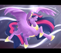 Size: 3500x3037 | Tagged: safe, artist:onecoolmule, twilight sparkle, alicorn, pony, the last problem, armor, blurry, crown, crying, female, floating, flowing mane, flowing tail, flying, hoof shoes, horn magic, jewelry, mare, older, older twilight, open mouth, peytral, princess twilight 2.0, raised leg, regalia, singing, soft color, solo, spread wings, tears of pain, twilight sparkle (alicorn), widescreen, wings
