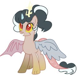 Size: 1280x1256 | Tagged: safe, artist:thatonecrazyartist18, oc, oc only, hybrid, base used, crack ship offspring, interspecies offspring, offspring, parent:cozy glow, parent:discord, simple background, solo, transparent background